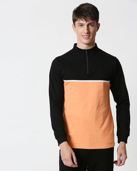Shop Orange Rush Turtle Neck Zipper Fleece Sweater-Design