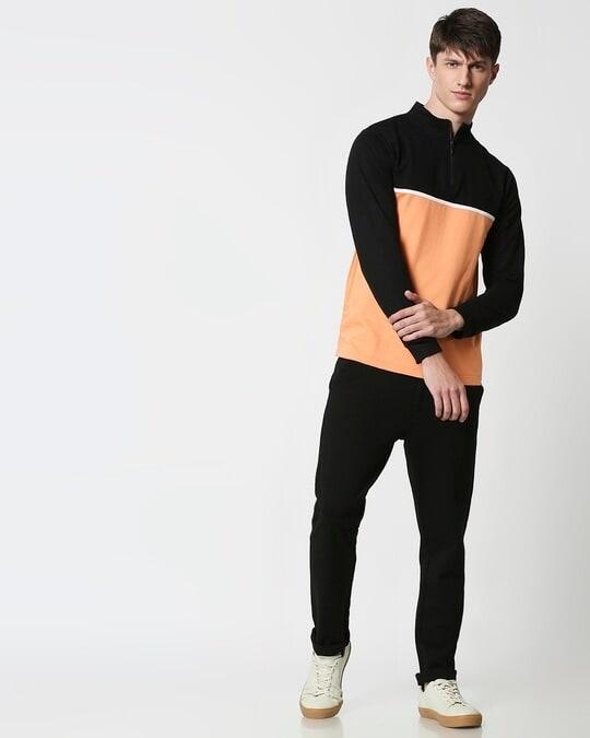 Shop Orange Rush Turtle Neck Zipper Fleece Sweater