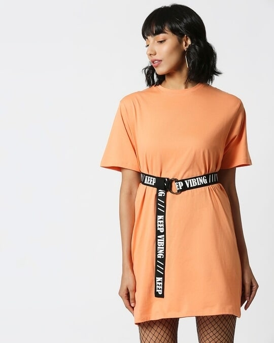 Shop Orange Rush Belt Dress-Design