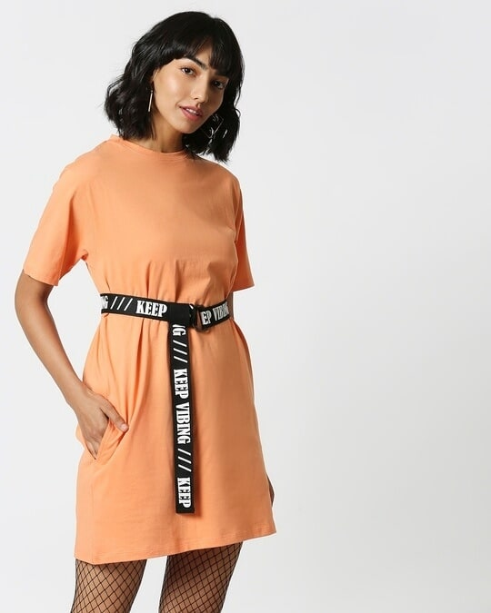 Shop Orange Rush Belt Dress-Full