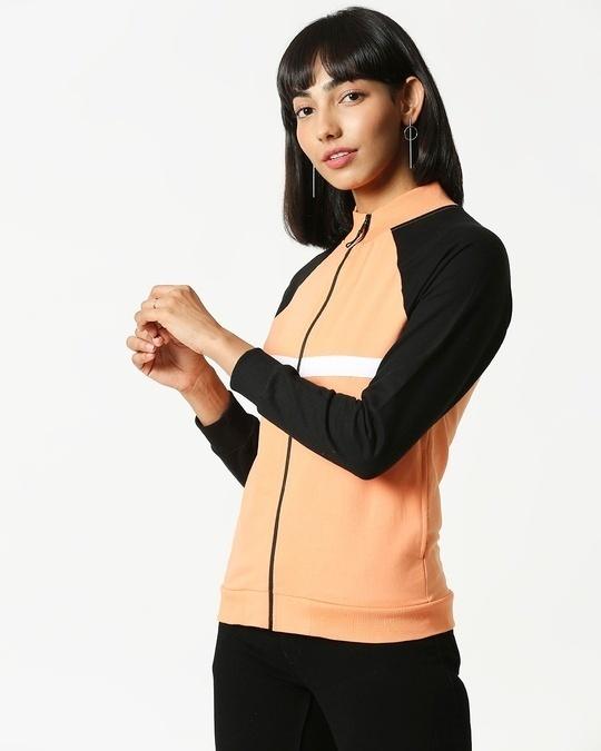 Shop Orange Rush Contrast Sleeves Panel Zipper Hoodie-Design