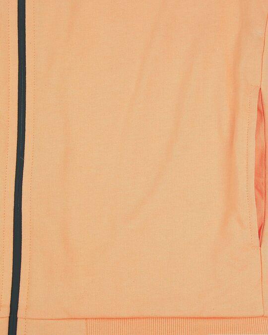 Shop Orange Rush Contrast Sleeves Panel Zipper Hoodie