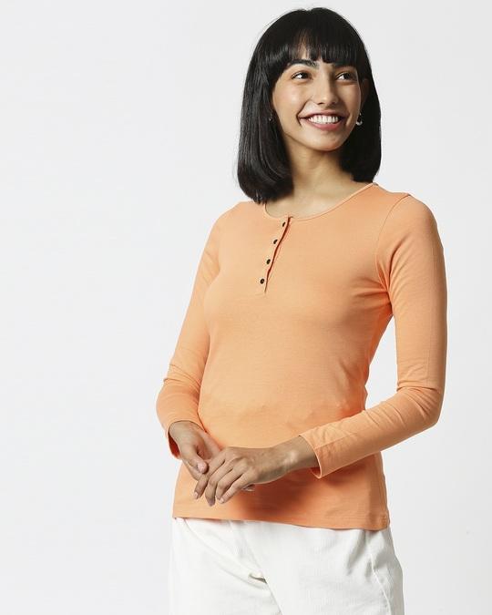Shop Orange Rush Full Sleeves Henley T-Shirt-Back