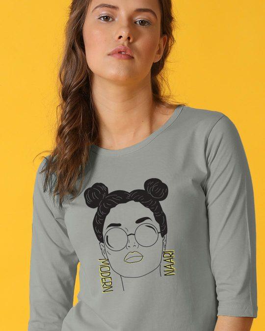 Shop Modern Naari Round Neck 3/4th Sleeve T-Shirt-Front