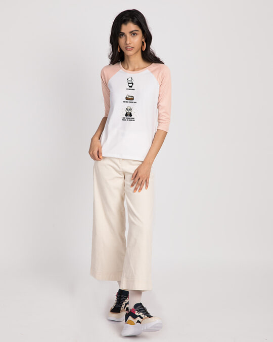 Shop Momo Pawri 3/4th Sleeve Raglan T-Shirt White-Baby Pink-Full