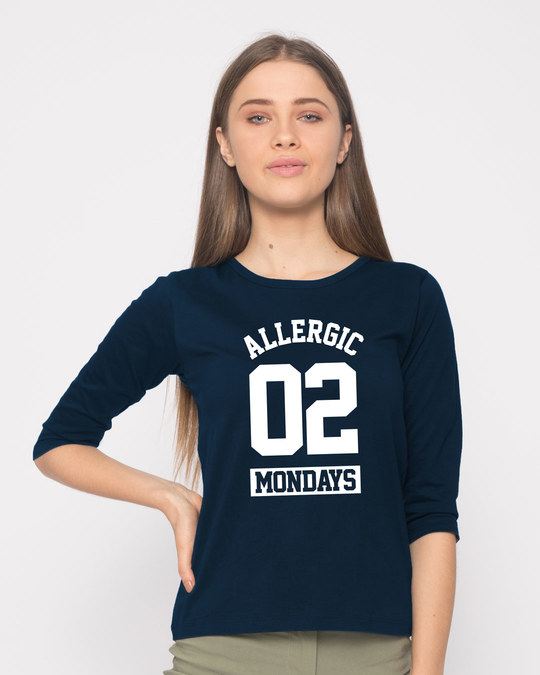 Shop Monday Fever Round Neck 3/4th Sleeve T-Shirt-Front