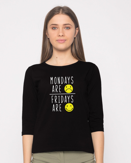 Shop Monday Friday Round Neck 3/4th Sleeve T-Shirt-Front