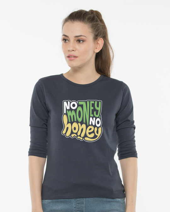 Shop Money Honey Round Neck 3/4th Sleeve T-Shirt-Front
