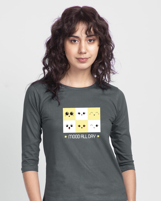 Shop Mood All Day Round Neck 3/4th Sleeve T-Shirt-Front