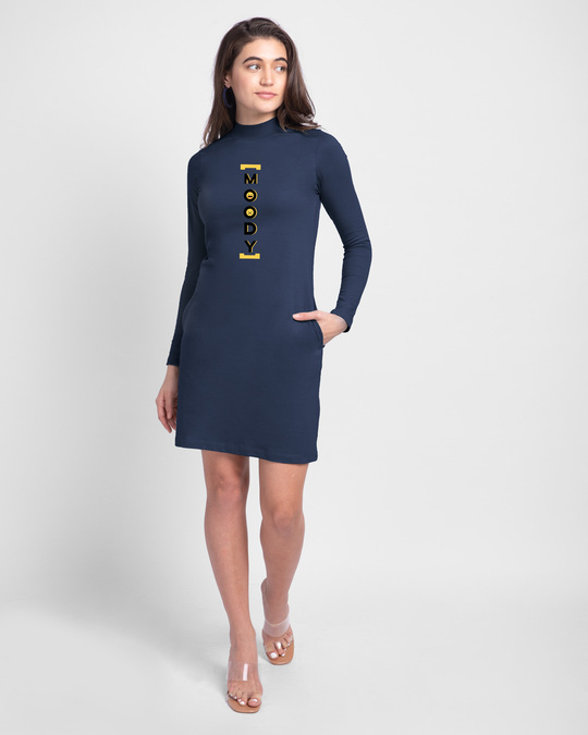 Shop Moody High Neck Pocket Dress Galaxy Blue-Design