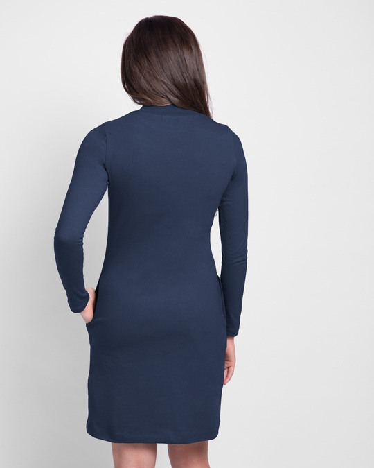 Shop Moody High Neck Pocket Dress Galaxy Blue-Back
