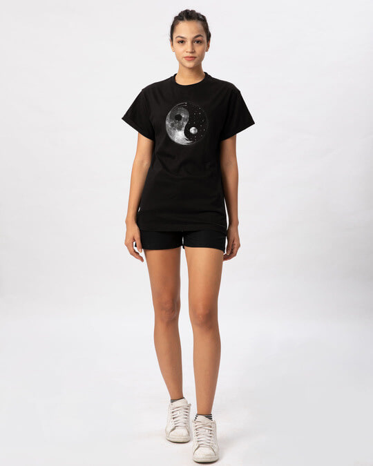 Shop Moon And Stars Yin Yang Boyfriend T-Shirt