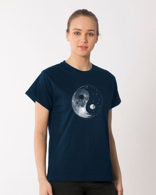Shop Moon And Stars Yin Yang Boyfriend T-Shirt-Full