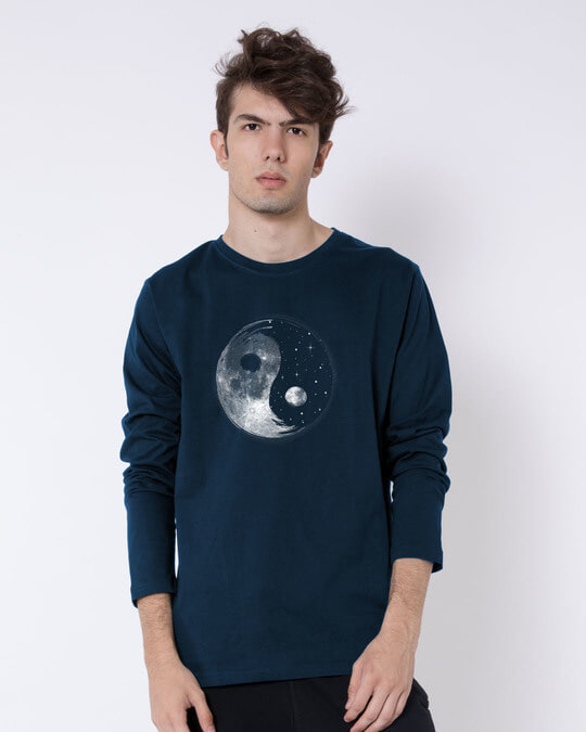 Shop Moon And Stars Yin Yang Full Sleeve T-Shirt-Back