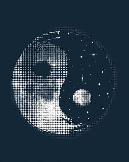 Shop Moon And Stars Yin Yang Full Sleeve T-Shirt