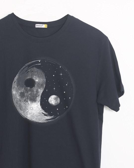 Shop Moon And Stars Yin Yang Half Sleeve T-Shirt-Front