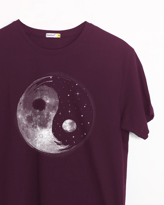 Shop Moon And Stars Yin Yang Half Sleeve T-Shirt-Front