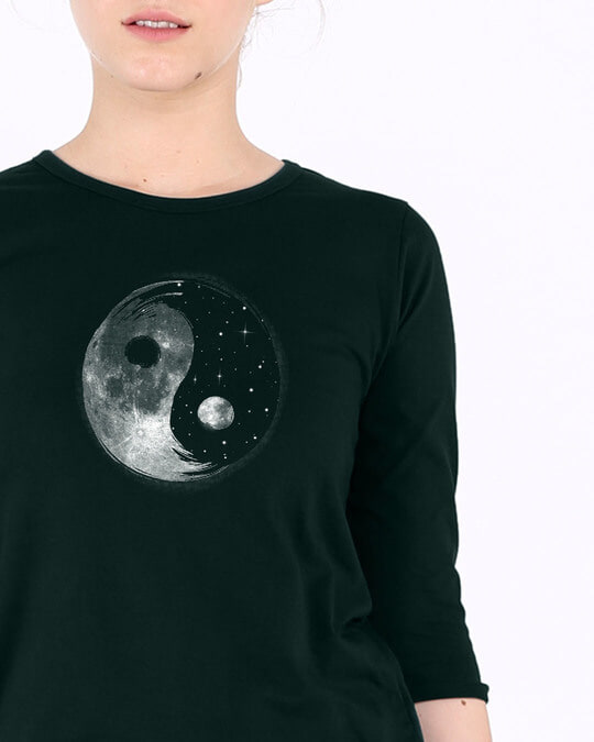 Shop Moon And Stars Yin Yang Round Neck 3/4th Sleeve T-Shirt-Front