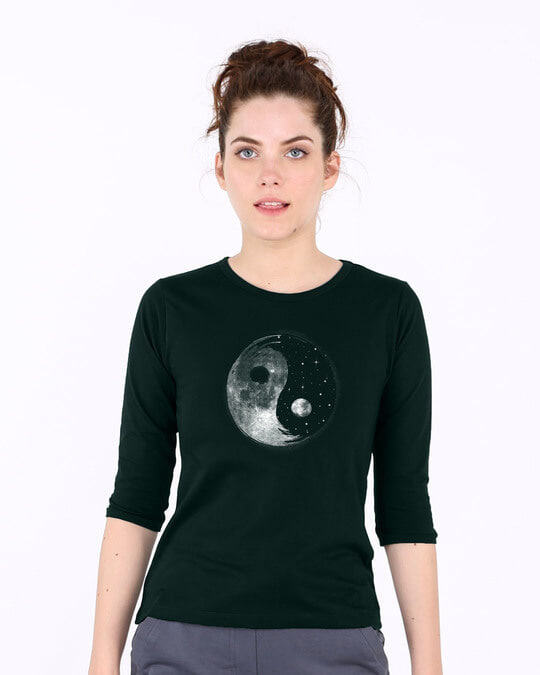 Shop Moon And Stars Yin Yang Round Neck 3/4th Sleeve T-Shirt-Back