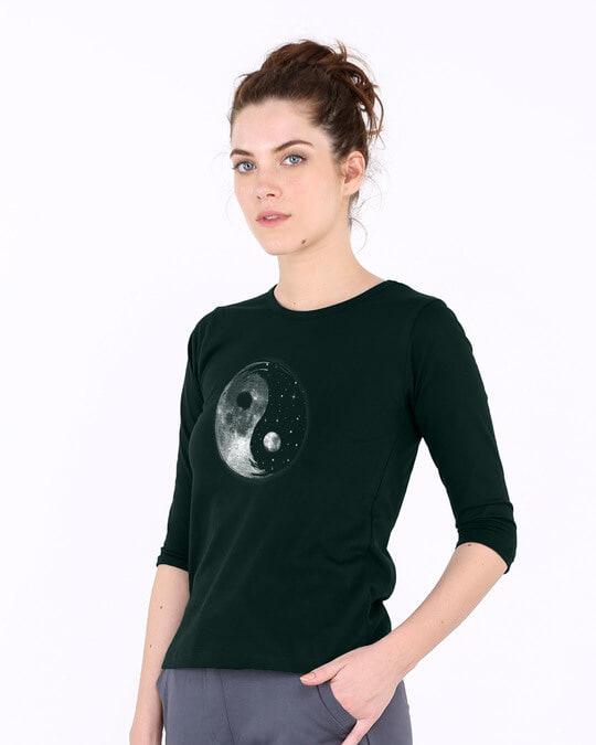 Shop Moon And Stars Yin Yang Round Neck 3/4th Sleeve T-Shirt-Full