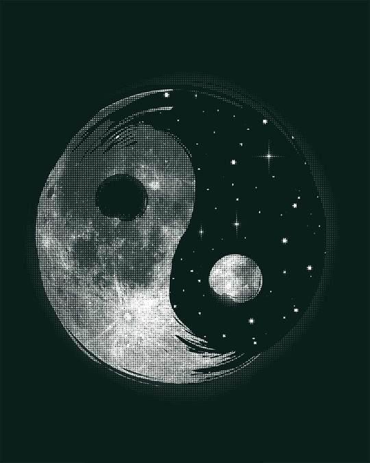 Shop Moon And Stars Yin Yang Round Neck 3/4th Sleeve T-Shirt