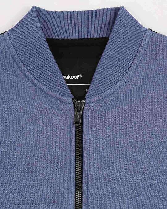 Shop Moonlight Blue-Black Panel Zipper Bomber Jacket