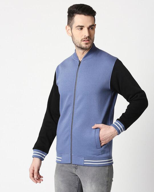 Shop Moonlight Blue Varsity Bomber Jacket-Design