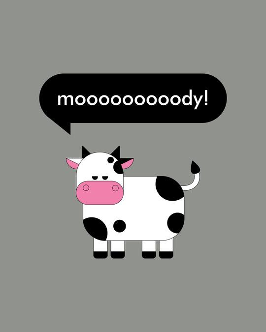 Shop Mooody Half Sleeve Printed T-Shirt Meteor Grey-Full