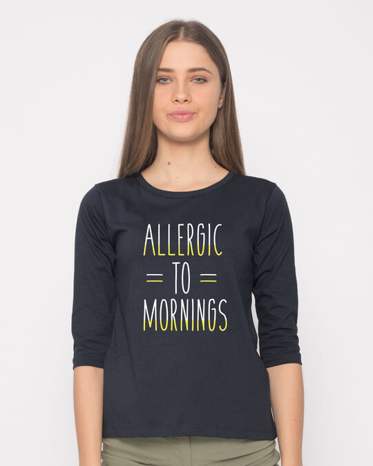 Shop Morning Allergies Round Neck 3/4th Sleeve T-Shirt-Front