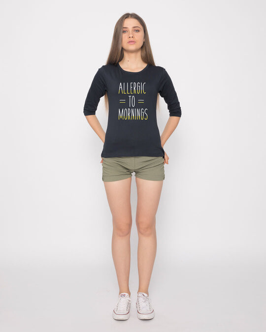 Shop Morning Allergies Round Neck 3/4th Sleeve T-Shirt-Full