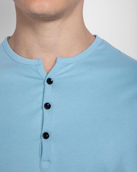 Shop Morning Blue V-Neck Henley T-Shirt