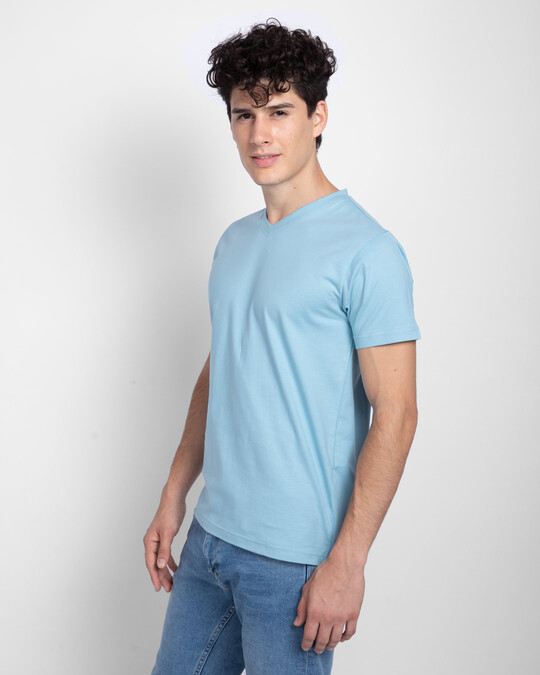 Shop Morning Blue V-Neck T-Shirt-Back