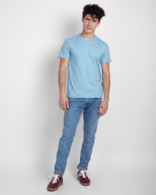 Shop Morning Blue V-Neck T-Shirt-Full