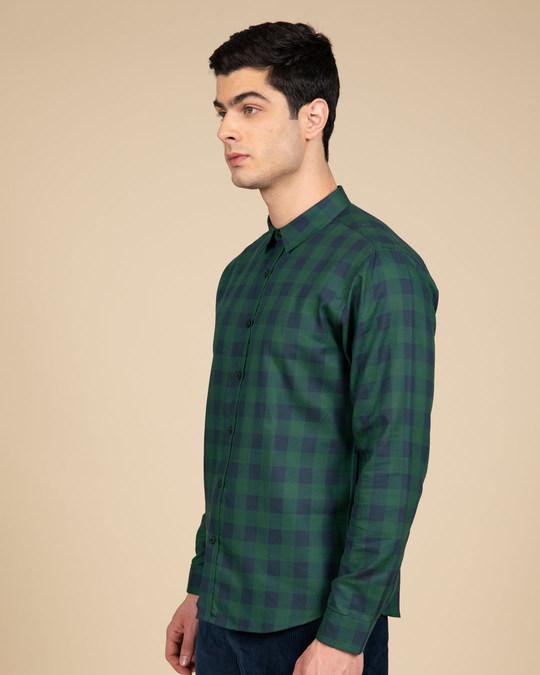 Shop Moss Blue Checked Shirt-Back