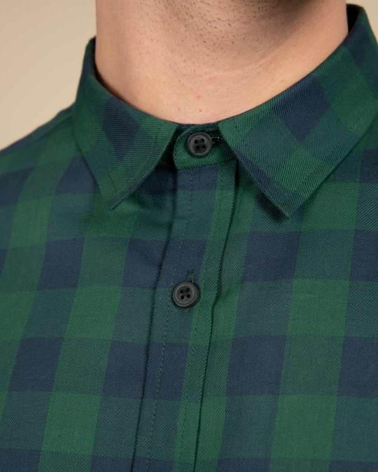 Shop Moss Blue Checked Shirt