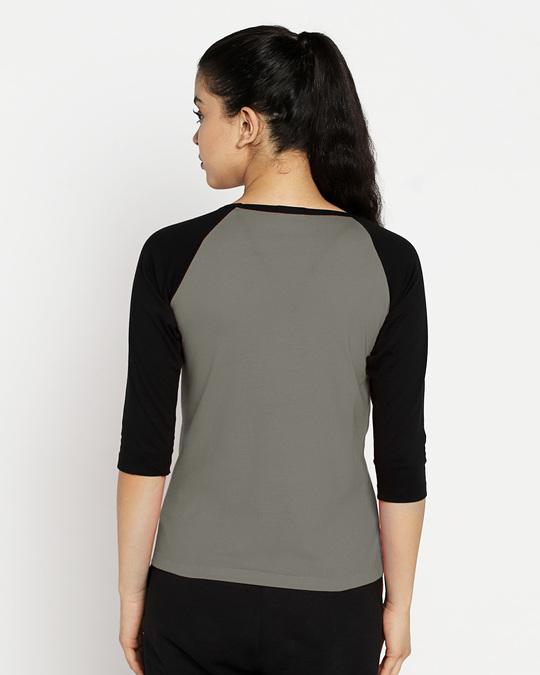 Shop Moss Green-Black 3/4th Sleeve Raglan T-Shirt-Design
