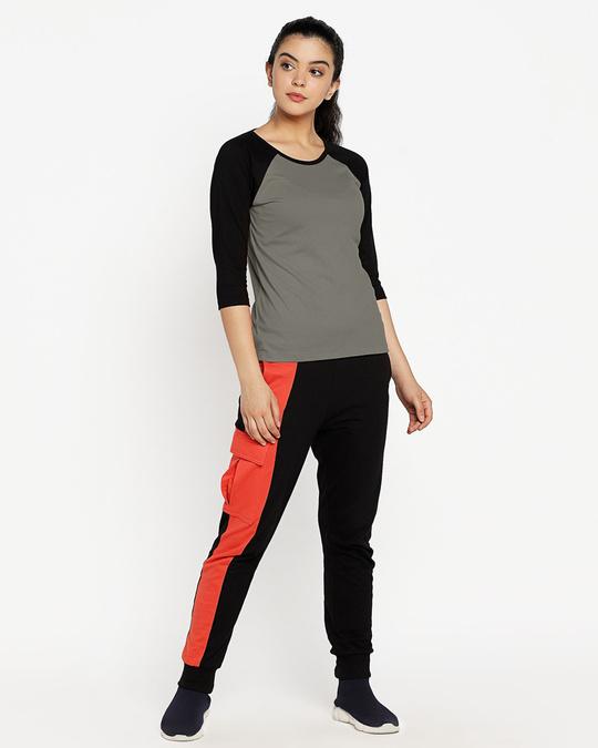 Shop Moss Green-Black 3/4th Sleeve Raglan T-Shirt-Full