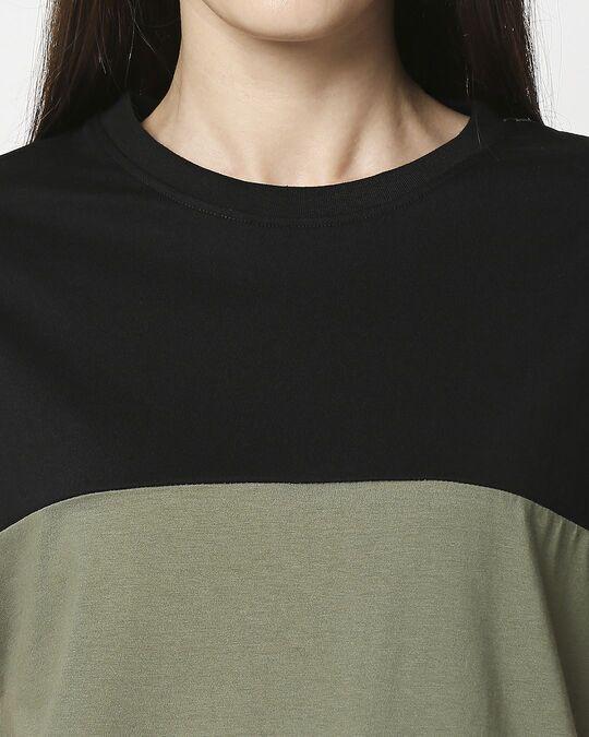 Shop Olive- Black Color Block Boyfriend T-shirt