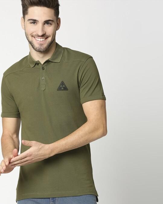 Shop Moss Green Half Sleeve Shoulder Yoke Polo-Front