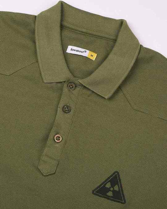 Shop Moss Green Half Sleeve Shoulder Yoke Polo