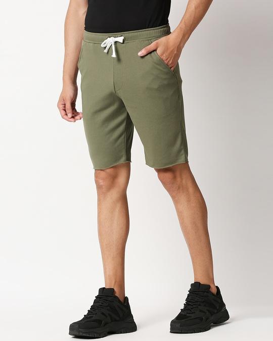 Shop Moss Green Raw Hem Shorts-Design