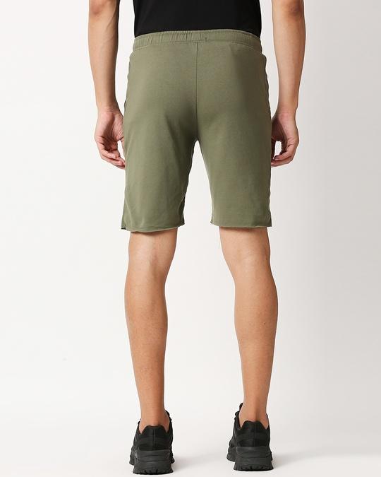 Shop Moss Green Raw Hem Shorts-Full