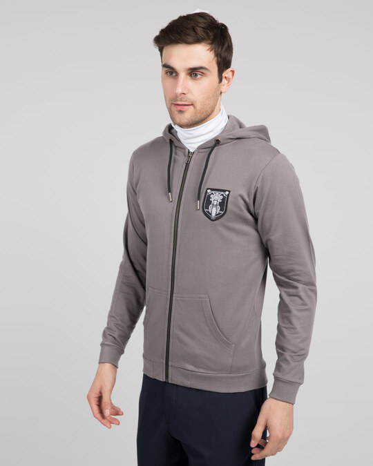 Shop Motorbike Badge Zipper Hoodie-Back
