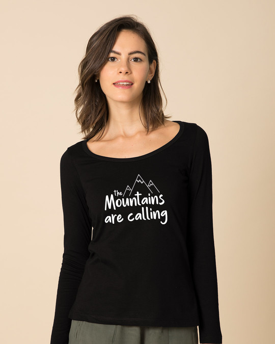 Shop Mountain Calling Scoop Neck Full Sleeve T-Shirt-Front