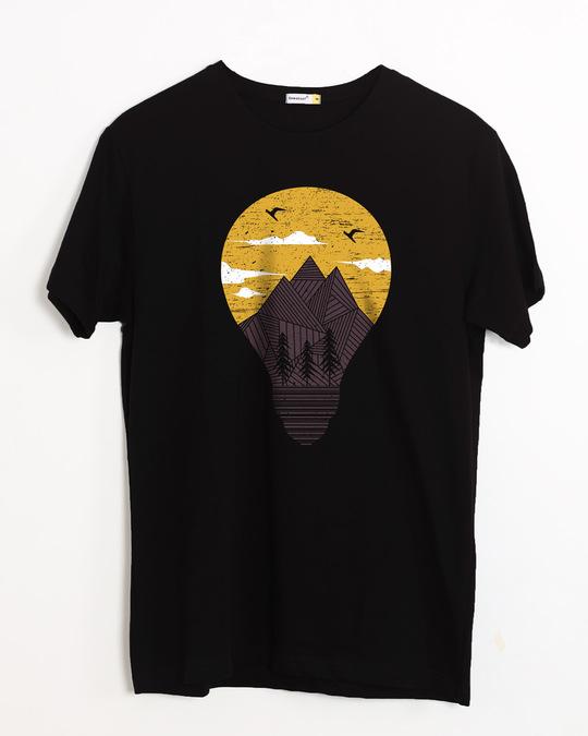 Shop Mountain Lights Half Sleeve T-Shirt-Front