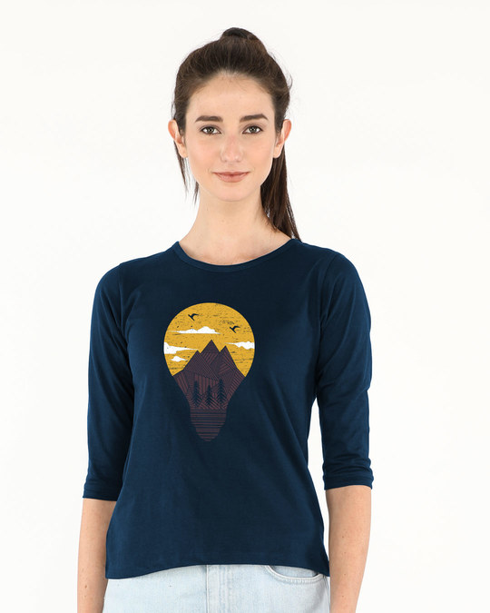 Shop Mountain Lights Round Neck 3/4th Sleeve T-Shirt-Front