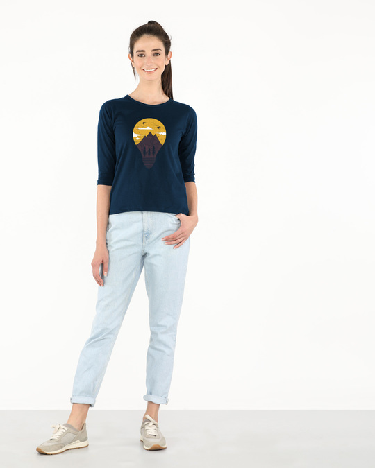 Shop Mountain Lights Round Neck 3/4th Sleeve T-Shirt