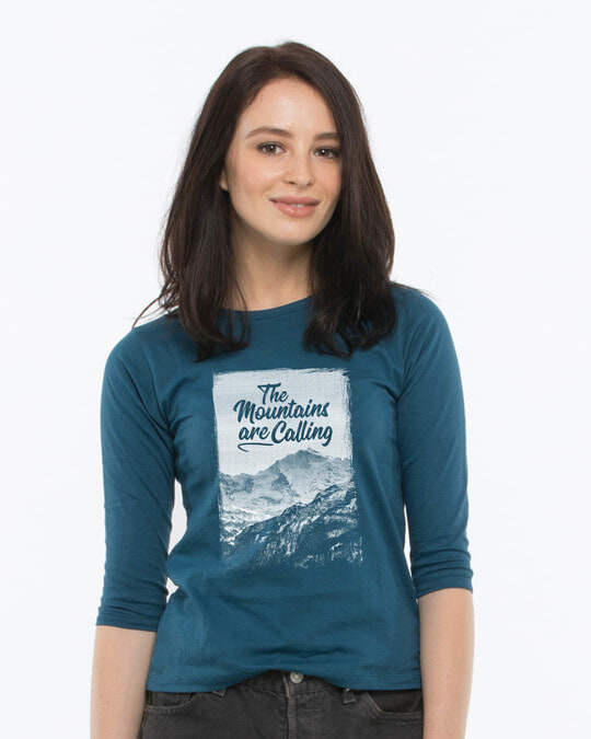 Shop Mountain Travels Round Neck 3/4th Sleeve T-Shirt-Front