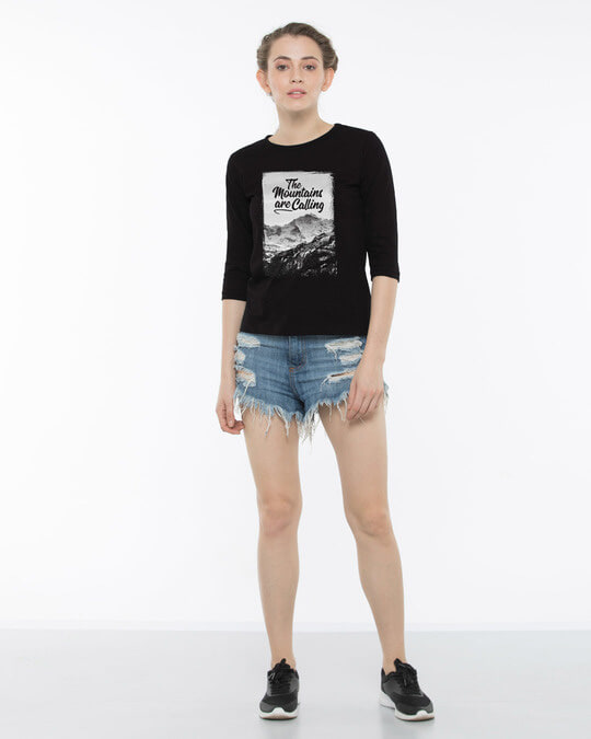 Shop Mountain Travels Round Neck 3/4th Sleeve T-Shirt