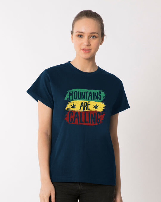 Shop Mountains Are Calling Rasta Boyfriend T-Shirt-Front